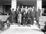Picture relating to Canberra - titled 'Group of delegates to Congress of Architects with ladies, Hotel Canberra.'