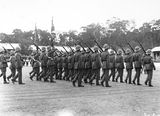 Picture relating to Duntroon - titled 'Royal Visit, May 1927 -March Past at Duntroon Royal Military College with Colour Party.'