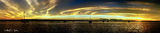 Picture relating to Tin Can Bay - titled 'Golden Horizon - Stiched panorama sunrise.Tin Can Bay'