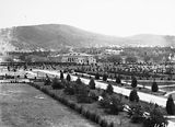Picture of / about 'Parliament House' the Australian Capital Territory - Albert Hall from Old Parliament House showing young trees and Black Mountain