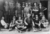 Picture relating to Mount Morgan - titled 'Portrait of gold miners from Mount Morgan, 1920'