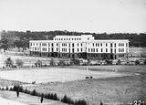 Picture relating to Parliament House - titled 'West Block Offices and tennis courts from Old Parliament House'