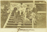 Picture relating to Gracemere - titled 'On the front steps of the homestead at Gracemere, ca. 1872'