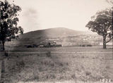 Picture relating to Black Mountain - titled 'West Block early construction - Black Mountain in background'