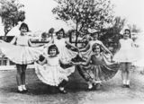Picture relating to South Brisbane - titled 'Six girls in ballet costumes, Brisbane, ca. 1934'