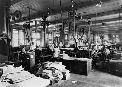 Picture of / about 'Brisbane' Queensland - Inside the Government Printing Office, Brisbane, ca. 1912