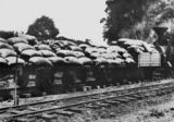 Picture relating to Buderim - titled 'Bags of fertiliser on a tram carriage at Buderim, 1914'