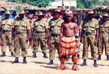Picture relating to Thursday Island - titled '51st Battalion, Charlie Company FNQ Regiment, at theTorres Strait cultural festival, Thursday Island, 1993'