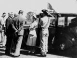 Picture relating to Oakey - titled 'Queen Elizabeth II and Prince Philip, The Duke of Edinburgh, arrive at Oakey Airport, 1954'