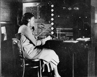 Picture of / about 'Emerald' Queensland - Marjorie Elms at the Emerald telephone switch, 1928-1929