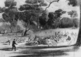 Picture relating to Melbourne - titled 'Early Australian Rules Football match in Melbourne, ca. 1866'