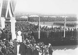 Picture relating to Parliament House - titled 'Royal Visit, May 1927 - Arrival of the Duke and Duchess of York at Old Parliament House .'
