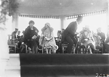 Picture of / about 'Bruce' the Australian Capital Territory - Royal Visit, May 1927 - The dais at the Royal Review showing the Duchess of York and Prime Minister Hon S M Bruce.