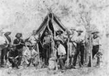 Picture relating to Croydon - titled 'Railway workers in a bush camp on the Croydon to Normanton railway line, ca.1890'