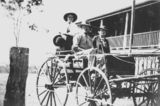Picture relating to Queensland - titled 'Robinson family on a horsedrawn cart in front of their home, 1944'