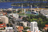 Picture relating to Perth - titled 'Aerial Perth: WACA (cricket ground), Swan River& Heirisson Island '