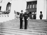 Picture relating to Parliament House - titled 'Opening of the 16th Parliament- Two Officers waiting on the Governor General's arrival at Old Parliament House	 				'