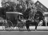 Picture of / about 'Warwick' Queensland - Rody Heckscher, the owner/driver of the last of the hansom cabs in Warwick, ca. 1930