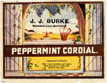 Picture relating to Murgon - titled 'Label from a bottle of J. J. Burke's Peppermint Cordial'