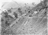 Picture relating to Murrumbidgee River - titled 'Road construction work (Uriarra Road). Murrumbidgee River on the left.'