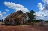 "Picture relating to Lightning Ridge - titled 'This ""church"" film set was used in the 2000 film by Clara Law ""The Goddess of 1967"",'"