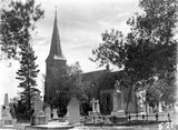 Picture relating to Anzac Parade - titled 'St Johns Church and graveyard, Constitution Avenue, Reid from Anzac Parade.'