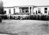 Picture relating to Acton - titled 'Group photograph of Federal Capital Commission staff outside Acton Offices'