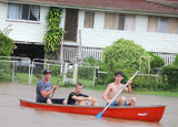 Picture relating to Grantham - titled 'Boys having fun canoeing the streets of Grantham'