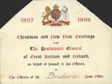 Picture relating to Queensland - titled 'Christmas card sent to Brisbane Post Office from the Postmaster General of Great Britain and Ireland, 1897'