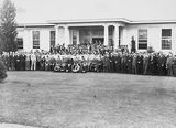 Picture relating to Acton - titled 'Federal Capital Commission staff in front of the Acton Offices'
