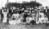 Picture relating to Mount Chalmers - titled 'Group portrait of residents of Mount Chalmers, 1913'