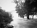 Picture relating to Cotter Dam - titled 'Cotter Dam in flood!. Water overflowing the wall.'