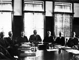 Picture relating to Page - titled 'Cabinet in session, includes Glasgow, Gilbert, Page, Bruce, Latham, Gibson and Paterson.'
