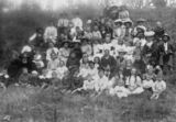Picture relating to Yarraman - titled 'Large group of people enjoying an outdoor gathering at Yarraman, about 1910'