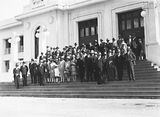 Picture relating to Parliament House - titled '15th Australian Provincial Press Conference - Delegates on the steps of Old Parliament House'