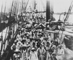Picture relating to Bundaberg - titled 'South Sea Islanders on the deck of a ship arriving at Bundaberg, 1895'