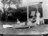 Picture relating to Queensland - titled 'Canoeing in the garden, 1900-1910'
