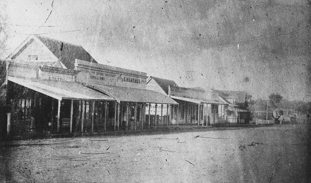 Picture of / about 'Warwick' Queensland - Shops in Fitzroy Street, Warwick, ca. 1885