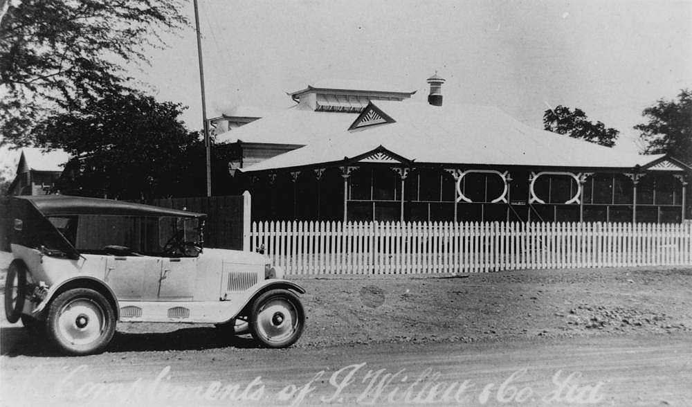 Picture of / about 'Winton' Queensland - Car parked in front of the Winton Club, ca. 1928
