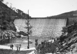 Picture relating to Cotter Dam - titled 'Cotter Dam spillway and stilling pond with visitors'
