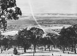Picture relating to Manuka - titled 'Snow fall - View from Red Hill over Collins Park, Manuka and Kingston to Duntroon.'