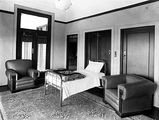 Picture relating to Parliament House - titled 'Folding bed in office in Old Parliament House'