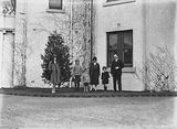 Picture relating to Canberra - titled 'Sir John Butters and family outside Canberra House, Acton.'