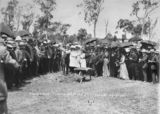 Picture relating to Cordalba - titled 'Hon. W. T. Paget turning the first sod at Cordalba for the Cordalba to Dallarnil railway extension, 1910'