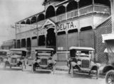 Picture relating to Ayr - titled 'Three Overland Tourers outside the Hotel Delta, Ayr, ca. 1928'