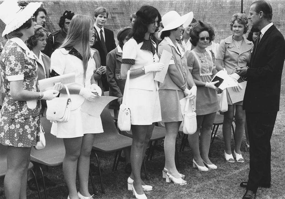 Picture of / about 'Brisbane' Queensland - Young women talking to Prince Philip at Brisbane State High School, 1973