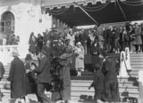 Picture relating to Canberra - titled 'Royal Visit, May 1927 - Canberra citizens passing the Duke and Dutchess of York on the steps on Old Parliament House at the Civic Reception.'