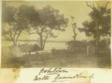 Picture relating to Cooktown - titled 'Tents and shelters on the bay at Cooktown, north Queensland'