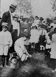 Picture of / about 'Ban Ban Springs' Queensland - Planting a tree for Arbor Day at Ban Ban Springs State School, 1920