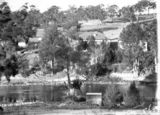 Picture relating to Murrumbidgee River - titled 'Murrumbidgee River and Cotter Pump House and Transformer House from western bank of the river'